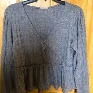 Altar'd State Grey knit peplum top